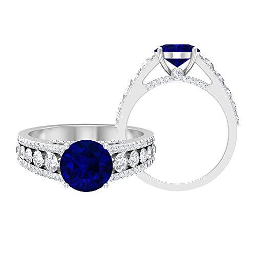 Anillo solitario vintage, joyería de oro macizo, piedra preciosa redonda de 3,28 quilates, anillo de compromiso de zafiro azul D-VSSI de 8 mm, anillo de ajuste de corona, 10K Oro blanco, Size:EU 54