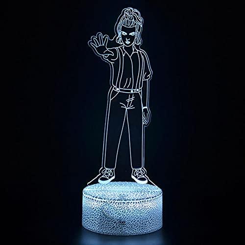 Anime Lights 3D Led, Stranger Things Night Light 3D Ilusion Eleven Dustin Figurine Lámpara de mesa, habitación de los niños lámpara de dormir mejor regalo de Navidad luces LED de noche