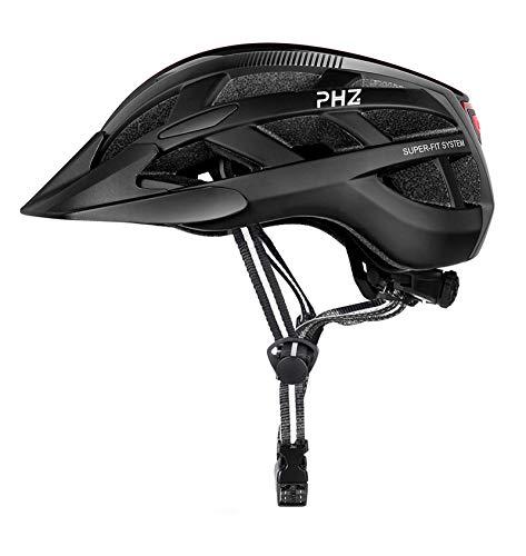PHZING Casco de Bicicleta con Certificado CE Ajustable y Visera Desmontable para...