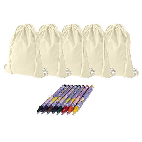 KET 5X Turnbeutel zum Bemalen inkl. Textilstifte - Gymbag - DIY Set zum Selbstgestalten - Kreatives Geschenk/Geburtstag/JGA