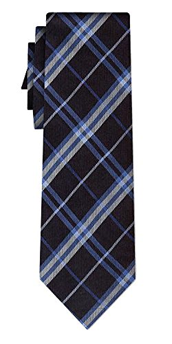 Cravate soie tartan pattern blue white on black