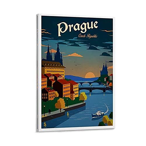 ASHDJ Prague Vintage Travel Poster Leinwand Kunst Poster und Wandkunst Bilddruck Moderne Familienzimmer Dekor Poster 24x36inch(60x90cm)