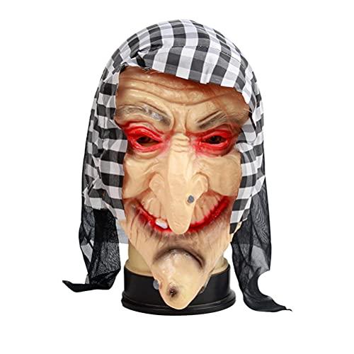 BSTCAR Máscara de bruja con capucha para adultos, divertida máscara de miedo, látex, talla única
