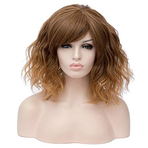 hkwshop Peluca Moda Peluca rizada sintética de Color Naranja con Pelucas Cortas para Mujer Resistente al Calor Verde púrpura púrpura Sintético Pelucas (Color : 6, Stretched Length : 14inches)