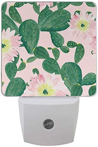 Paquete de 2 lámparas LED de luz nocturna con diseño de cactus y flores rosas con sensor de atardecer a amanecer para dormitorio, baño, pasillo, escaleras, 0.5 W, US Jack