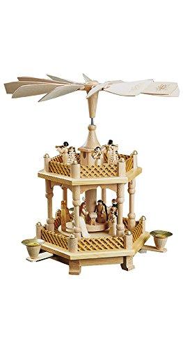 Richard Glässer Seiffen German christmas pyramid Nativity scene, 1-tier, height 33 cm / 13 inch, natural, original Erzgebirge by Richard Glaesser Seiffen