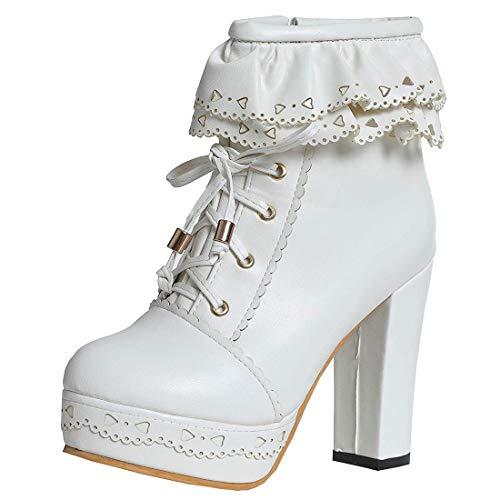 MISSUIT Damen Blockabsatz Plateau High Heels Stiefeletten mit Schnürung und Reißverschluss Lolita Ankle Boots Rockabilly Schuhe(Weiß,45)