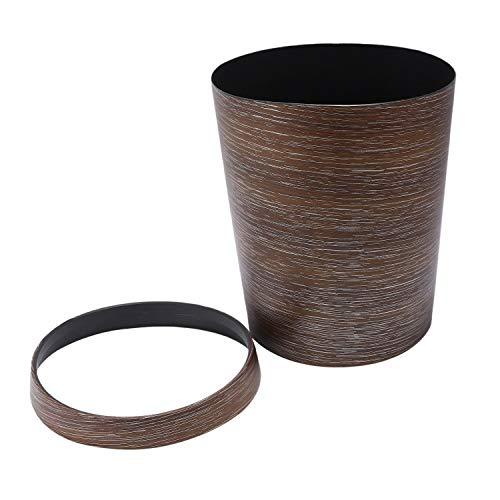 TOOGOO HIPSTEEN Style Rétro Anneau De Compression Poubelle en Plastique Peut Ménage Bureau Mimétique Corbeille à Papier en Bois - Brun Foncé