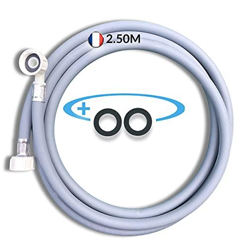 BYMEO, manguera para lavadora 2.50ML, manguera de suministro de agua para lavavajillas o lavandería, esta manguera de suministro universal reforzada puede utilizarse como extensión, se suministran 2 j