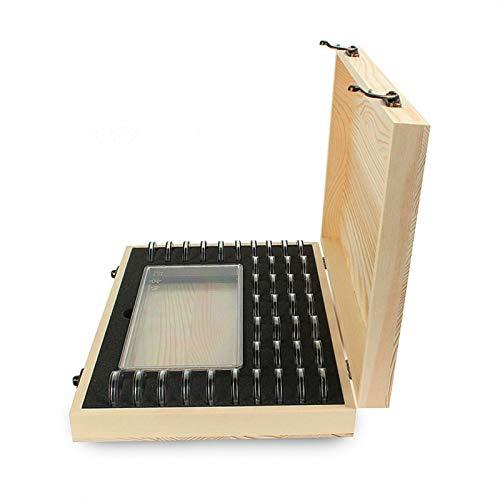 iBaste Caja de madera para monedas con soporte para cápsulas de monedas, tamaño de la caja de 16,8 cm y 8,3 cm, para guardar aproximadamente 100 dinero en efectivo.
