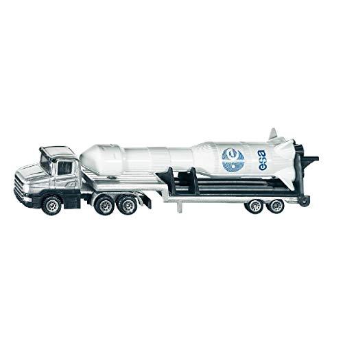 Siku 1614, Tieflader mit Rakete, Metall/Kunststoff, silber/weiß, Ausklappbare Abschussvorrichtung, Abnehmbare Rakete