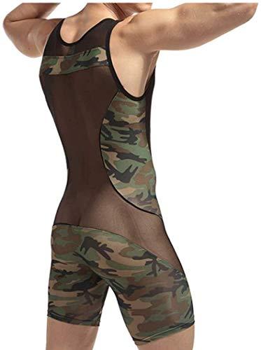 Heren Camouflage One Piece Wrestling Singlet Transparante en geborduurde bodysuit turnpakje Ondergoed mouwen (Color : Army Green, Size : M)