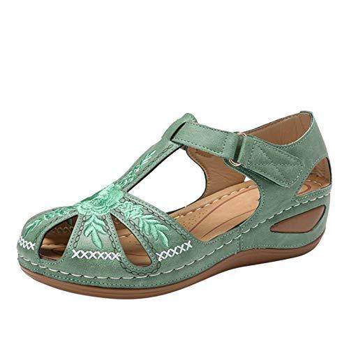 Damen Wedge Heel Flip Flops Bestickte Sandalen,Hausschuhe Schuhe für Einkaufen Strand Tägliche Reise