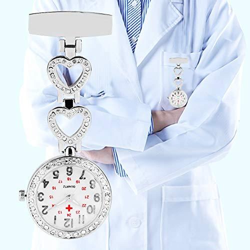 FGMGFTG Reloj de Broche Duradero Dimensión de una Variable del Reloj de Bolsillo Brillante corazón del Diamante Regalos Hebilla de Reloj de Cuarzo del Reloj Enfermero Doctor Paramédico Médico