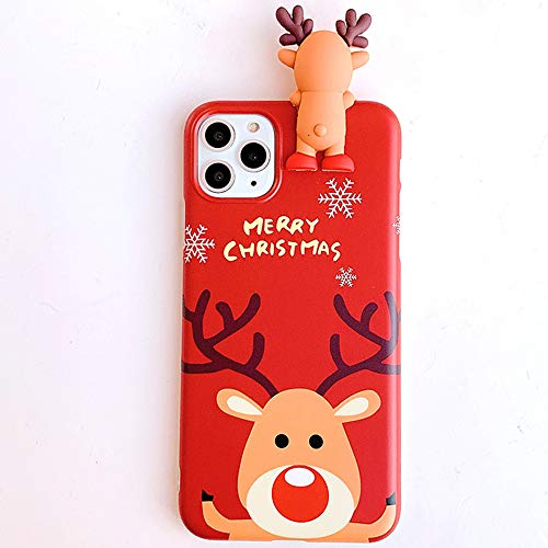 Topwin Christmas Case for iPhone 12 Pro Max 6.7'', Merry Christmas Soft Silicone TPU 3D Cute Snowman Santa/Elk Antlers Pretty Cute Flexible Protective Case for Apple iPhone 12 Pro Max 6.7 2020 (Red)