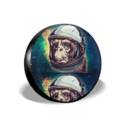 Sootot Spare Wheel Tire Cover Bags Monkey Astronaut Spare Tire Cover Tire Protectors Fit for Many Vehicle 14 Inch Wheel Tire Covers Spare Car ty