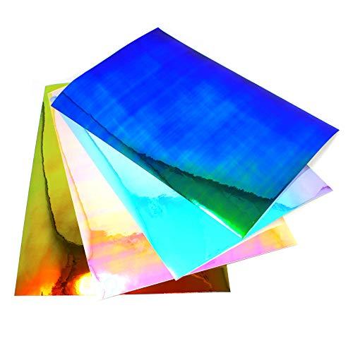(27,74€/m²) 4 x Din A4 Bogen Set Bastelfolie Flipflop Chrom Hologramm Chamäleon Effektfolie Künstlerfolie Plotterfolie Basteln DIY (Bunt, 4er Mix)