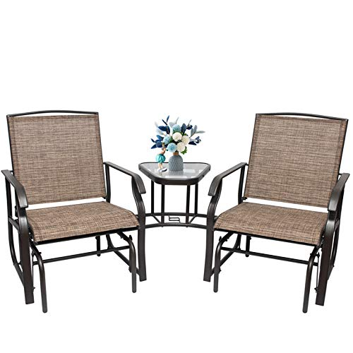 L-Glider Chair 3-Piece Patio Sling Fabric Double Glider Rocker Chair with Table,Solid Connection L - Shape,Outdoor Patio Furniture Set for Porch Garden Lawn