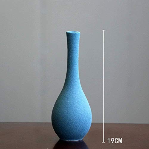 Beeldhouwwerkvaas decoratie thuis Modern malen keramische vazen tafelblad aardewerken vaas woondecoratie accessoires Blue grijs zwart, blauw 19cm, White 15cm (Color : Blue 19cm)