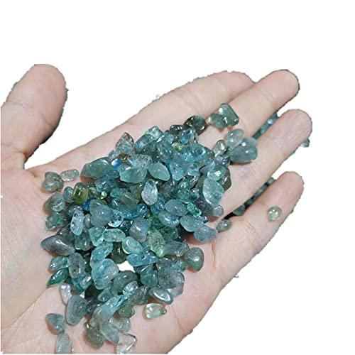 LIRRUI Natürliche Blaue Apatit-Kristall-Chips polierte Felsen-Kiesstein for Fishbowl Gartendekoration (Color : Grün, Size : 100g)