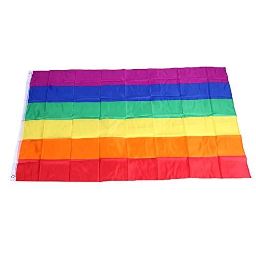 Fantasyworld New Souvenirs 90 x 150 cm Rainbow Flag Polyester for Lesbian Gay Bisexual Transgender Multicolor
