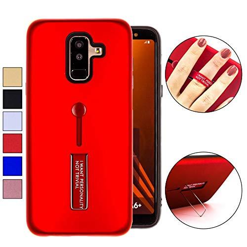 COOVY® Funda para Samsung Galaxy A6 + Plus SM-A605 / SM-A605F/DS (Model 2018) Doble Capa de silicio TPU y plástico, extrafuerte, una función de sujeción con u n Dedo de la Correa | Color Rojo