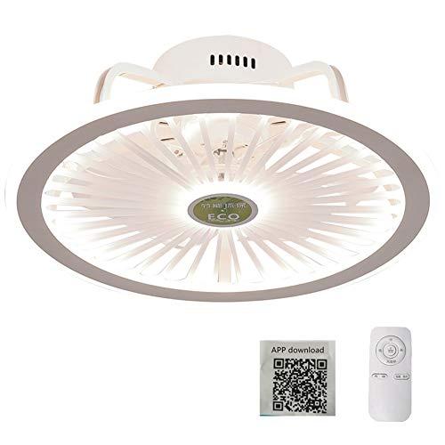 Ventilador de techo con lámpara, Lámpara de techo regulable LED inteligente con control remoto APP, Lámpara de ventilador silenciosa moderna Luces de ventilador de dormitorio,Blanco