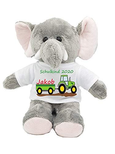 Unbekannt personalisierter Elefant Traktor Kuscheltier Zuckertüte Schultüte Wunschname Einschulung Schulkind 2020 Glücksbringer