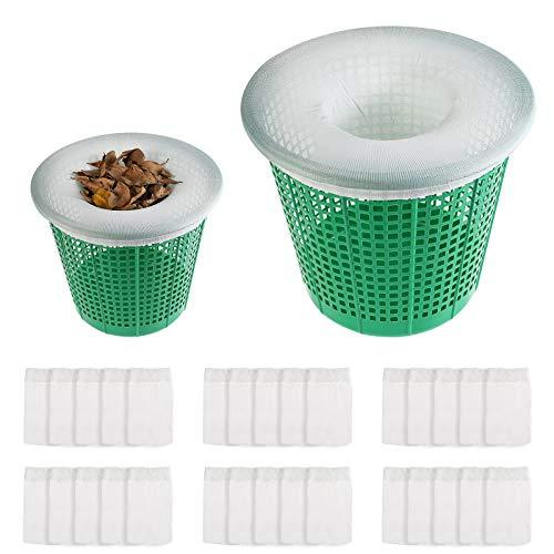 Herefun 30 Piezas Calcetines de Skimmer de Piscina, Calcetín de Filtro de Piscina, Filtro de Tela de Nylon para Eliminar Residuos, Hojas, Aceite, Insectos