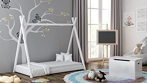 Children's Beds Home Cama Individual con Dosel de Madera Maciza - Estilo Titus Tepee para niños Niños Niño pequeño con colchón de Espuma (140x70, Blanco)