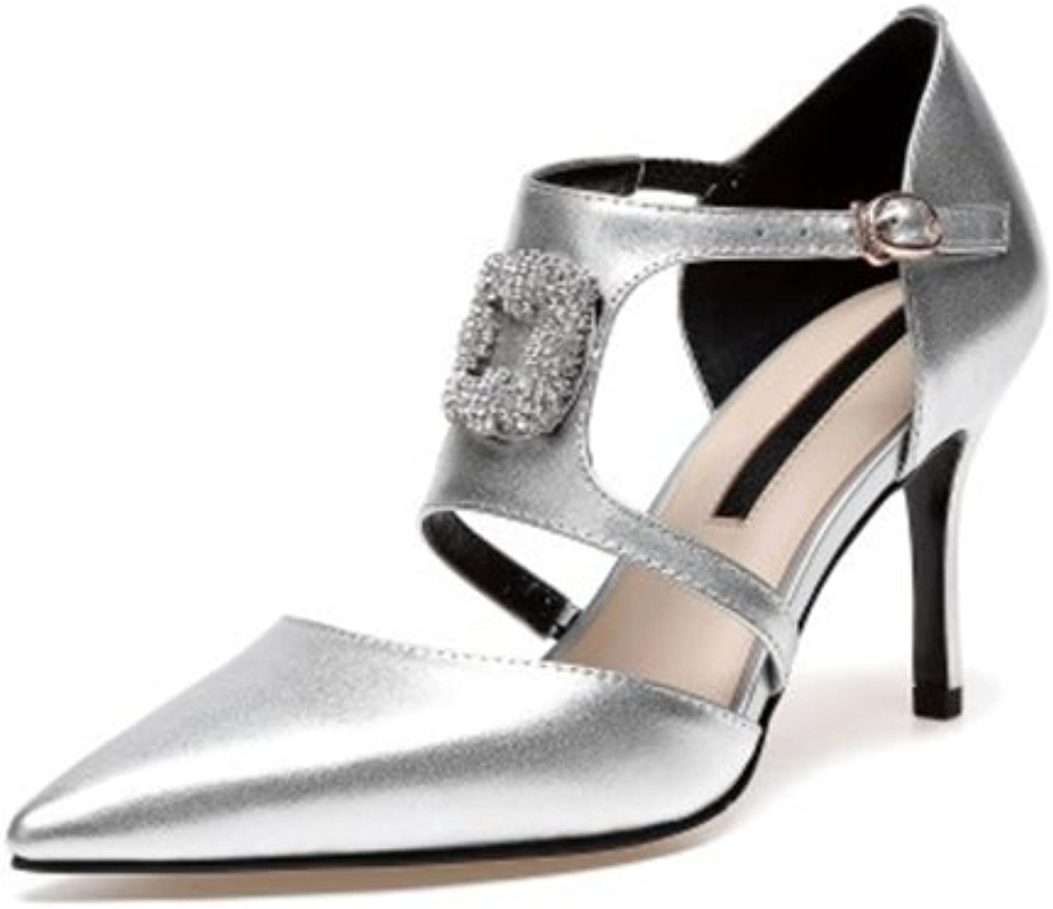Jiang Womens's shoes 2018 New High Heel Sandals Europe America Fashion Pointed Rhinestone, Square Buckle Stiletto Heel Ladies shoes Sandals