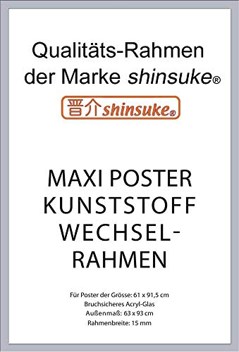 empireposter Wechselrahmen Shinsuke® Maxi-Poster 61,5x91cm Qualitätsrahmen, Profil: 15mm - Kunststoff Silber, Acrylscheibe beidseitig foliengeschützt
