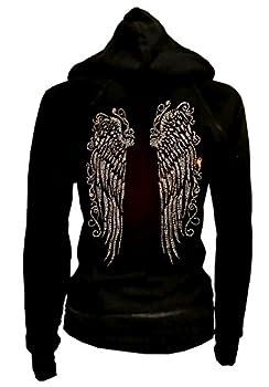 LADY Plus Size Bling Bling Angel Wings Zip up Hoodie Sweater Rhinestones  4X-Large  Black