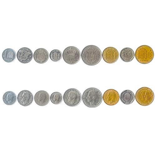 Hobby of Kings Set Mit 9 Münzen Aus Spanien. 1, 2, 5, 10, 25, 50, 100, 200, 500 Pesetas. 1982-2001