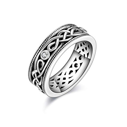 Unisex Celtic Knot Ring Vintage Tone Sterling Silver CZ Band Infinity Rings for Women Men (7)