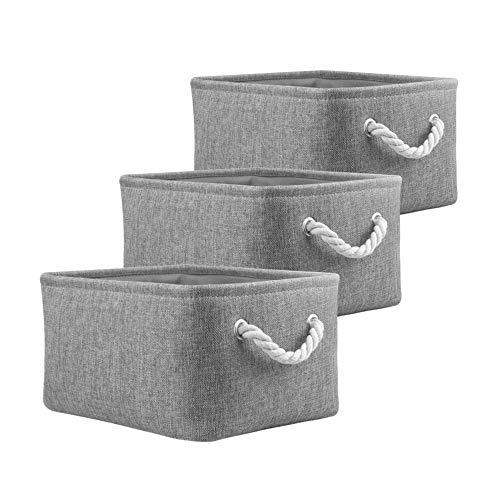 Mangata Aufbewahrungsboxen aus Stoff, Aufbewahrungskörbe, Organizer für die Home-Office-Schule, für Regale, Schränke, Spielzeug und mehr, 3er-Pack (Grau, Small)