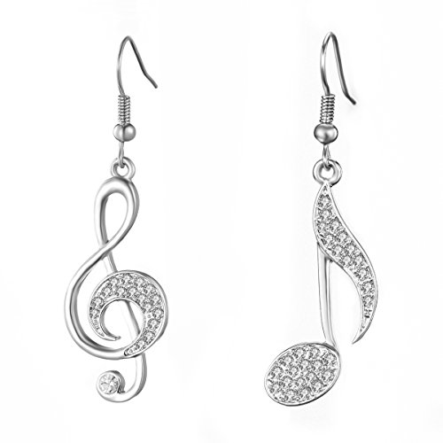 Orecchini pendenti con note musicali da donna, orecchini ipoallergenici placcati in oro rosa e argento con cristalli (Placcato argento)