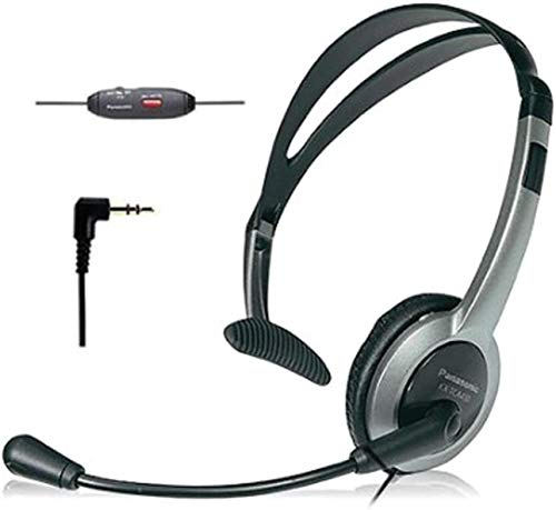Panasonic KX-TCA430 Comfort-Fit, Foldable Headset with Flexible Noise-Cancelling Microphone and Volume Control, Regular, Grey/Silver