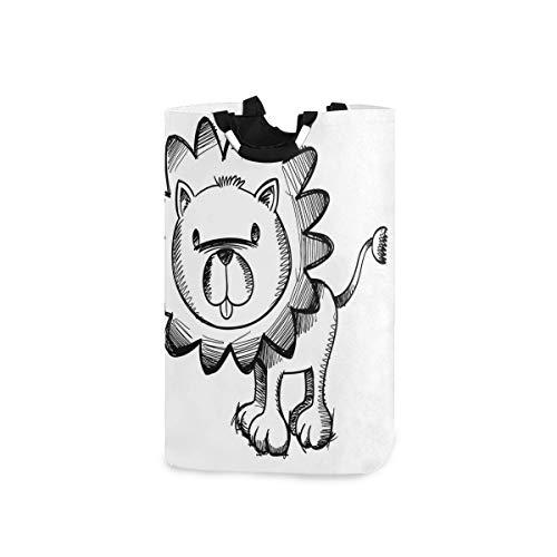 COFEIYISI Wäschesammler Wäschekorb Faltbarer Aufbewahrungskorb,Sketchy Baby Lion African Wildlife Charakter Safari Dschungel Savanna Habitat Thema,Wäschesack - Wäschekörbe - Laundry Baskets