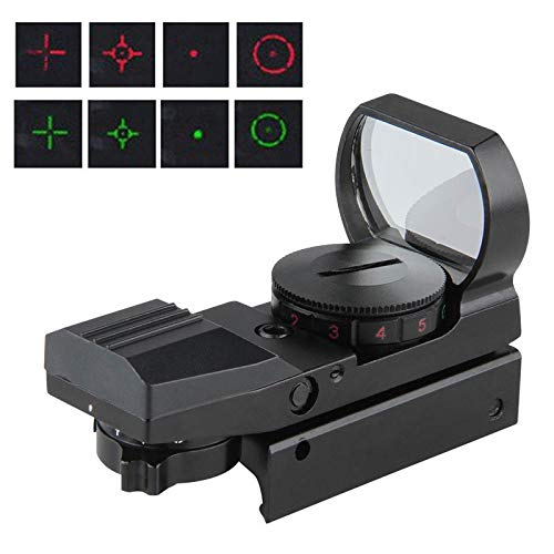 Aufun Red Dot Visier Sight Scope 22mm Rot Grün Dot Sight Airsoft 4 Reticle Leuchtpunktvisier für Jagd Softair Pistole und Armbrust