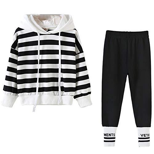 amropi Niña Raya Deportivos Conjunto de Ropa Chaqueta Sudadera Tops y Trotar Pantalones 2 Piezas Trajes (Blanco Negro,8-10 años)