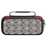 Cute Dog Dogs Brindle Boxer Dog Grey Case Compatible with Switch Case Protective Carry Bag Hard Shell Storage Bag Portable Travel Case for Switch Console Games Accessories
