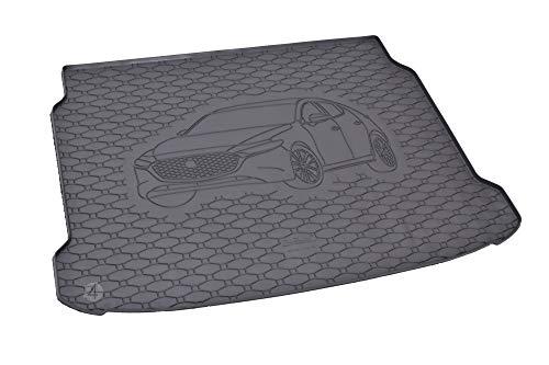Passgenau Kofferraumwanne geeignet für Mazda 3 Hatchback ab 2019 ideal angepasst schwarz Kofferraummatte + Gurtschoner