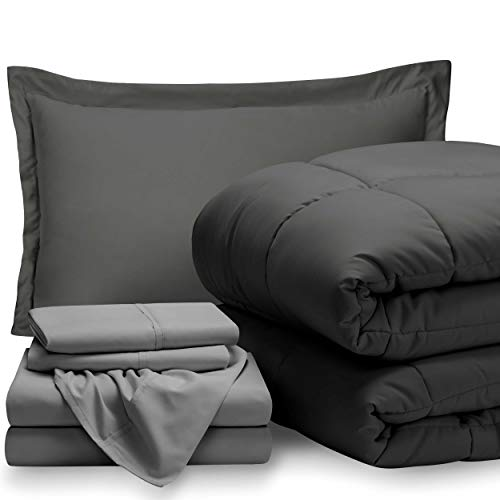 Bare Home Bed-in-A-Bag 5 Piece Comforter & Sheet Set - Twin Extra Long - Goose Down Alternative - Ultra-Soft 1800 Premium - Hypoallergenic - Breathable Bedding Set (Twin XL, Grey/Light Grey)