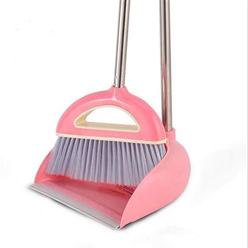 SFBBAO Besen rutschfeste Griff Clean Sweep Der Boden Besen Anzug Edelstahl Superfeine Faser Besen Set Haushaltsreinigungswerkzeug 80 * 26cm Rosa