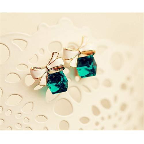 TTYJWDWY-Pendientes de botón de Lazo Brillante Elegante, Pendientes de Cristal Verde/Azul, Pendientes de botón de Diamantes de imitación Colgantes para Mujer-Verde