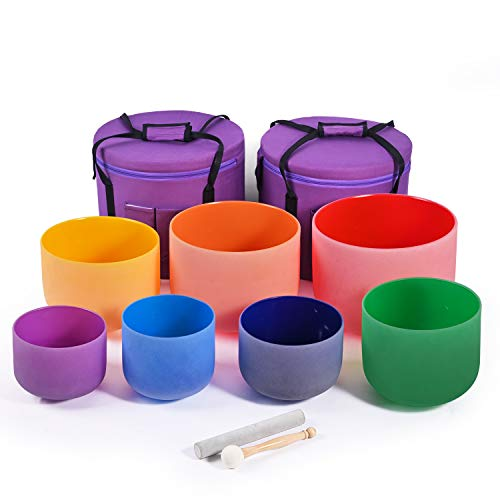 CVNC Set Of 7 PCS 6-12 Inch Colored Frosted Chakra Quartz Crystal Singing Bowls + 2 PCS Travel Carry Case Bag