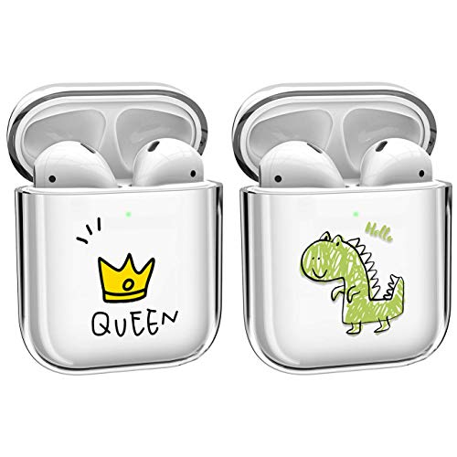 [2 Pack] Cute Crystal Clear Transparent Cover Case Compatible with Apple Airpods 2 &1, Smooth TPU [No Dust] [Front LED Visible] Shockproof Fun Wireless Cases for Girls Kids Teens Women-Queen+Dragon