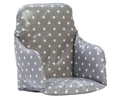 High Chair Cushion/Pad for Wooden high Chairs. Fully Wipe Clean (Soft Grey Stars)