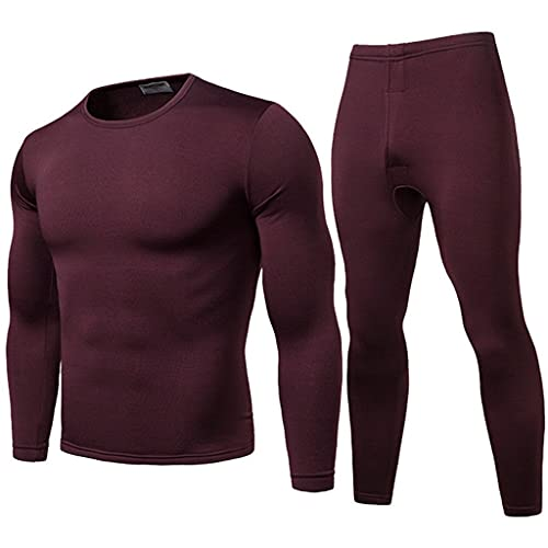 GYZCZX 2pcs Mens Winter Warm Ultra-Soft Fleece Lined Thermal Top Bottom Underwear Set Warm Long Thermal Underwear (Color : D, Size : L Code)